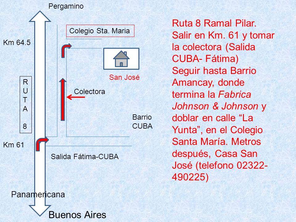 Buenos Aires Pergamino RUTA8RUTA8 Km 61 Barrio CUBA Salida Fátima-CUBA Km 64.5 San José Colegio Sta. Maria Panamericana Colectora Ruta 8 Ramal Pilar.