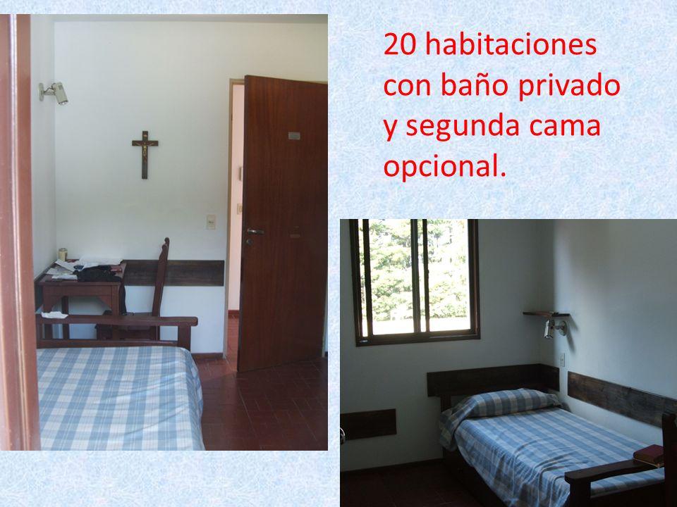 20 habitaciones con baño privado y segunda cama opcional.