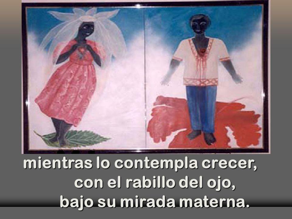 Con el vestido estampado en los mismos colores que Jesús, danza danza al aire de su Hijo, al aire de su Hijo,