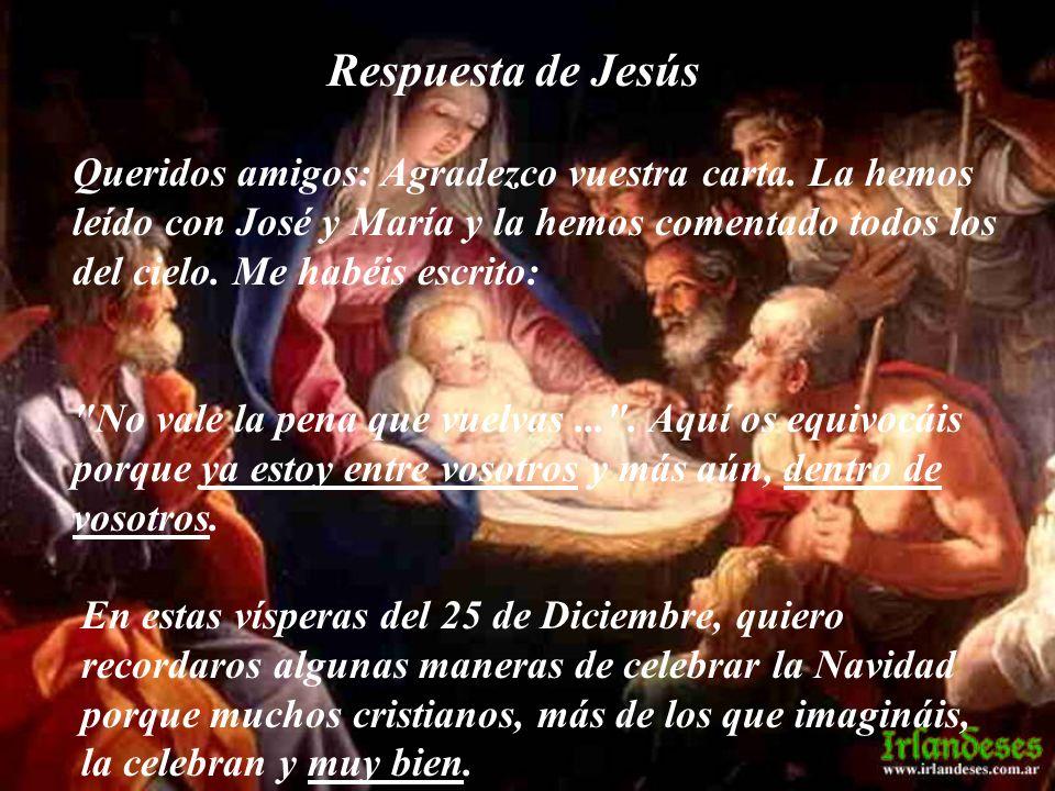 Respuesta de Jesús Queridos amigos: Agradezco vuestra carta. La hemos leído con José y María y la hemos comentado todos los del cielo. Me habéis escri