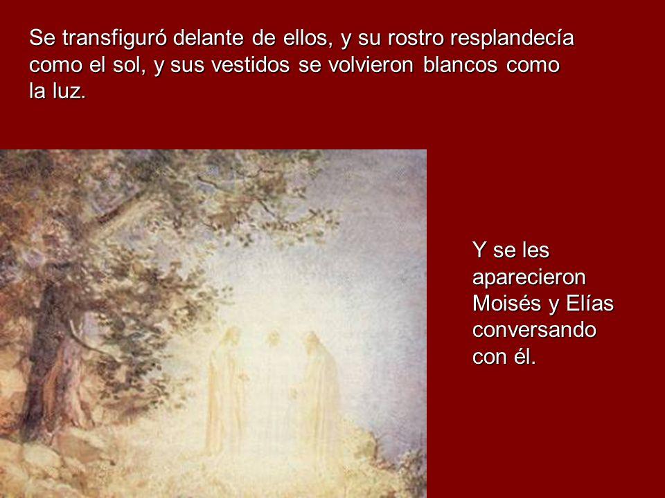 Se transfiguró delante de ellos, y su rostro resplandecía como el sol, y sus vestidos se volvieron blancos como la luz.