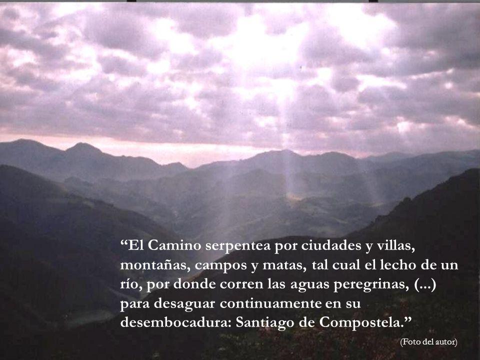 El Camino serpentea por ciudades y villas, montañas, campos y matas, tal cual el lecho de un río, por donde corren las aguas peregrinas, (...) para desaguar continuamente en su desembocadura: Santiago de Compostela.