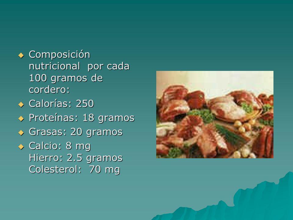 Composición nutricional por cada 100 gramos de cordero: Composición nutricional por cada 100 gramos de cordero: Calorías: 250 Calorías: 250 Proteínas: