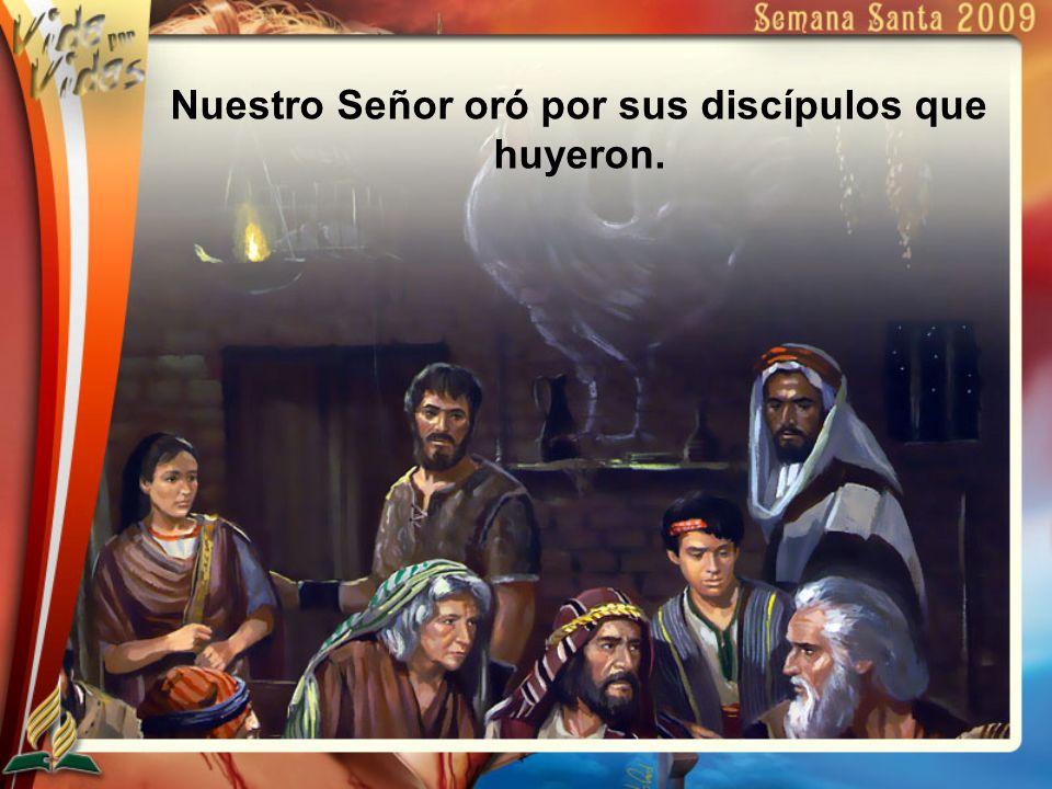 Nuestro Señor oró por sus discípulos que huyeron.