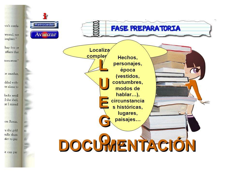 DOCUMENTACIÓN DOCUMENTACIÓN Localiza información complementaria sobre: Hechos, personajes, época (vestidos, costumbres, modos de hablar…), circunstanc