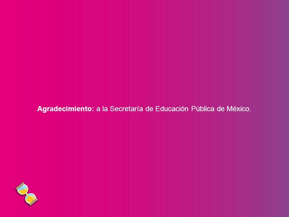 Agradecimiento: a la Secretaría de Educación Pública de México.