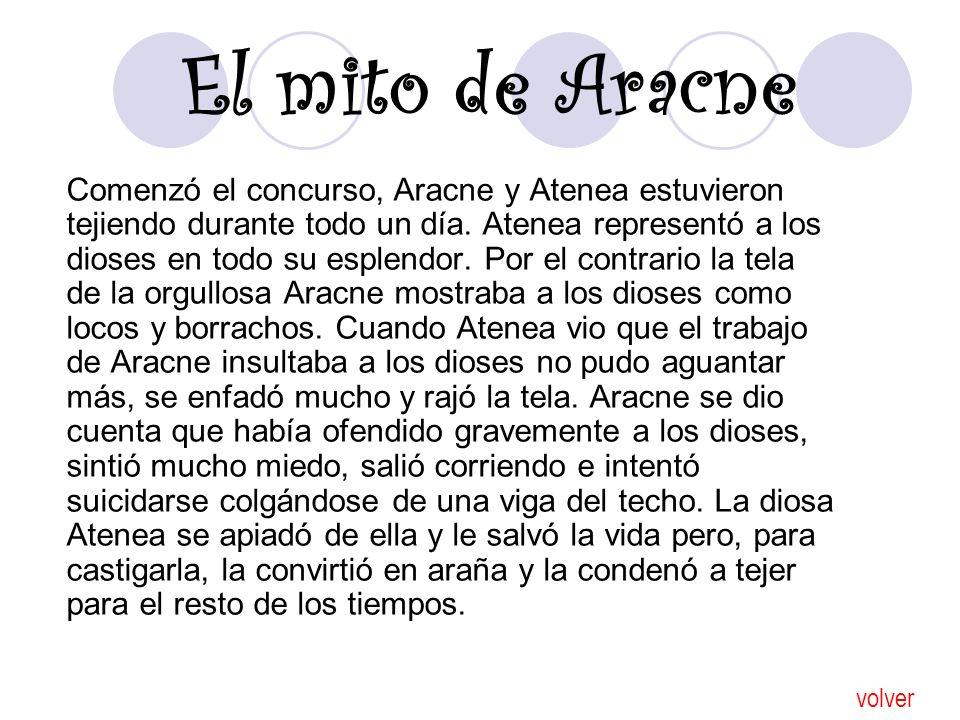 El mito de Aracne Comenzó el concurso, Aracne y Atenea estuvieron tejiendo durante todo un día. Atenea representó a los dioses en todo su esplendor. P