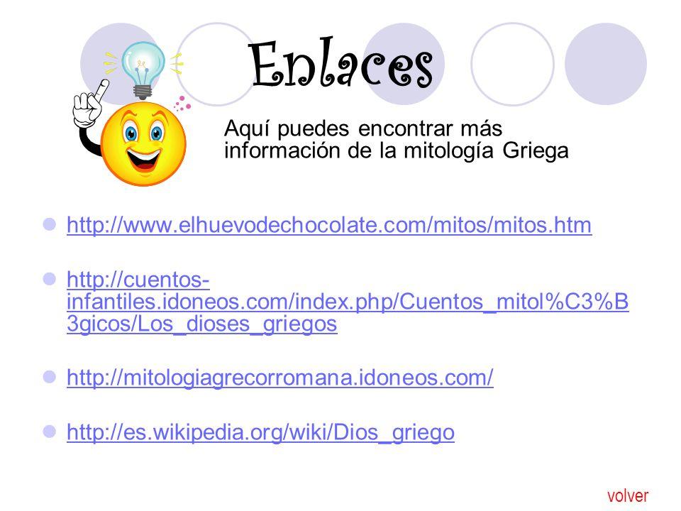 Enlaces http://www.elhuevodechocolate.com/mitos/mitos.htm http://cuentos- infantiles.idoneos.com/index.php/Cuentos_mitol%C3%B 3gicos/Los_dioses_griego