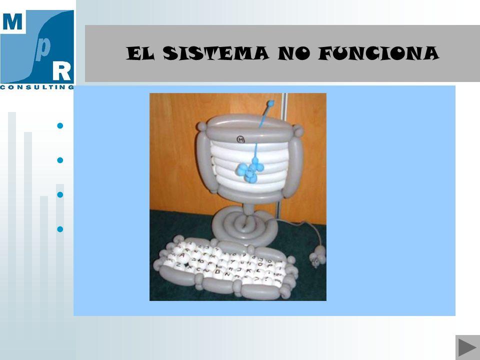 El SISTEMA NO ES FUNCIONAL: Sistema sin dirección Sistema disminuido, no eficiente Sistema no opera Caos EL SISTEMA NO FUNCIONA