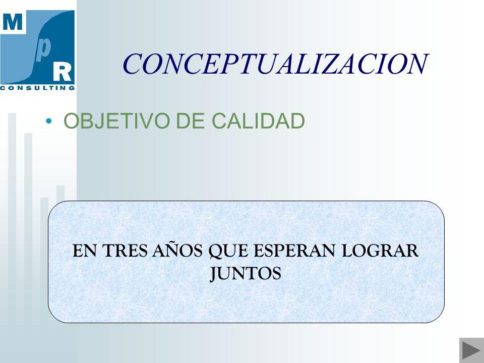 CONCEPTUALIZACION EN TRES AÑOS QUE ESPERAN LOGRAR JUNTOS OBJETIVO DE CALIDAD