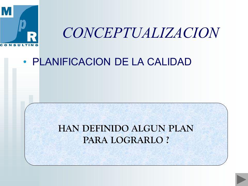CONCEPTUALIZACION HAN DEFINIDO ALGUN PLAN PARA LOGRARLO PLANIFICACION DE LA CALIDAD