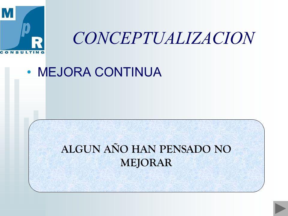 CONCEPTUALIZACION ALGUN AÑO HAN PENSADO NO MEJORAR MEJORA CONTINUA