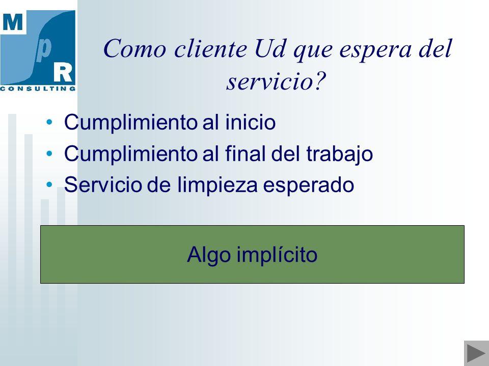 Como cliente Ud que espera del servicio.