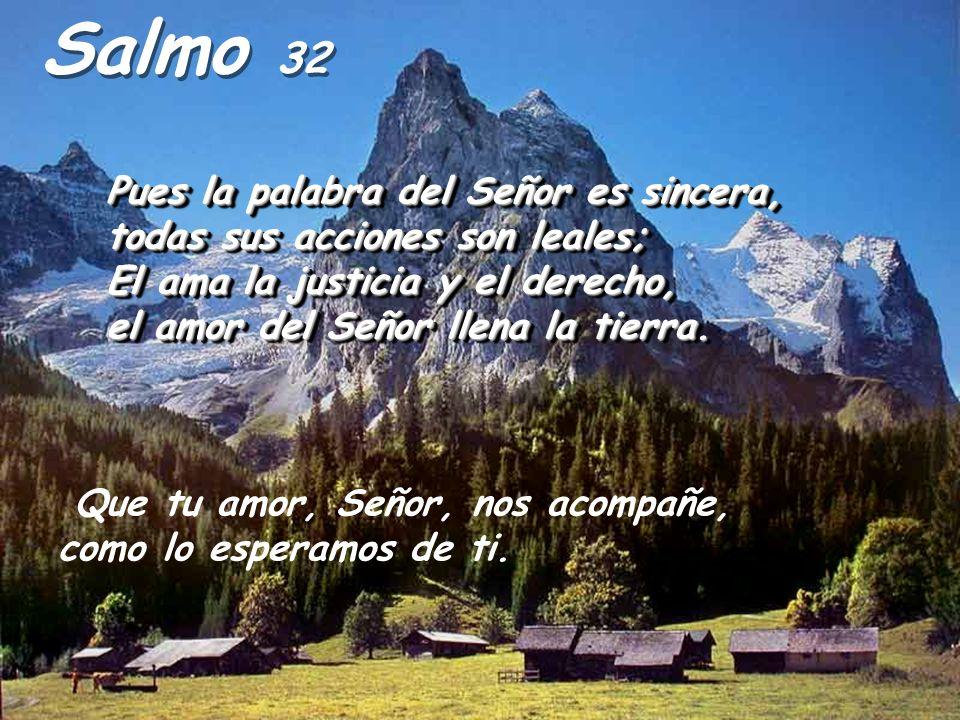 Salmo 32 Pues la palabra del Señor es sincera, todas sus acciones son leales; El ama la justicia y el derecho, el amor del Señor llena la tierra.