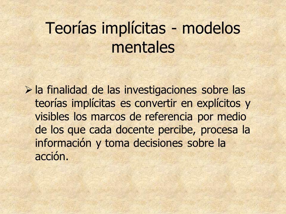 Teorías implícitas - modelos mentales la finalidad de las investigaciones sobre las teorías implícitas es convertir en explícitos y visibles los marco
