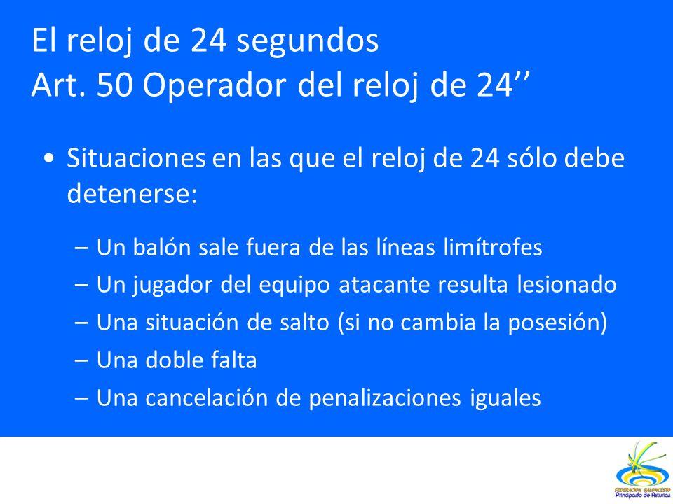 Situaciones en las que el reloj de 24 sólo debe detenerse: –Un balón sale fuera de las líneas limítrofes –Un jugador del equipo atacante resulta lesio