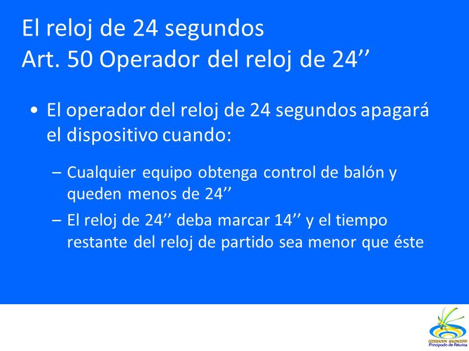 El operador del reloj de 24 segundos apagará el dispositivo cuando: –Cualquier equipo obtenga control de balón y queden menos de 24 –El reloj de 24 de
