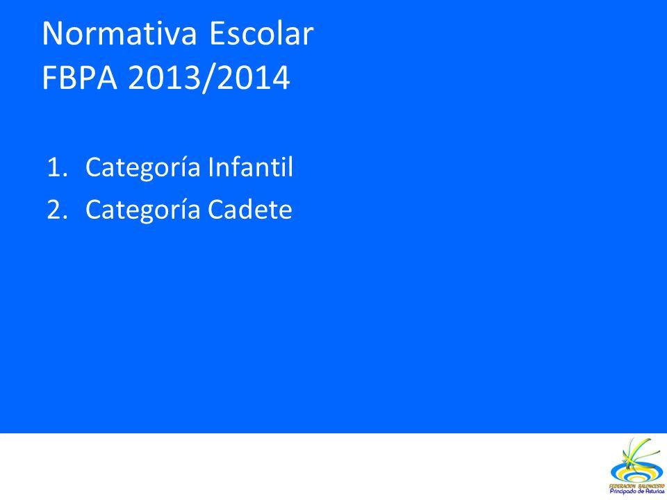 Normativa Escolar FBPA 2013/2014 1.Categoría Infantil 2.Categoría Cadete