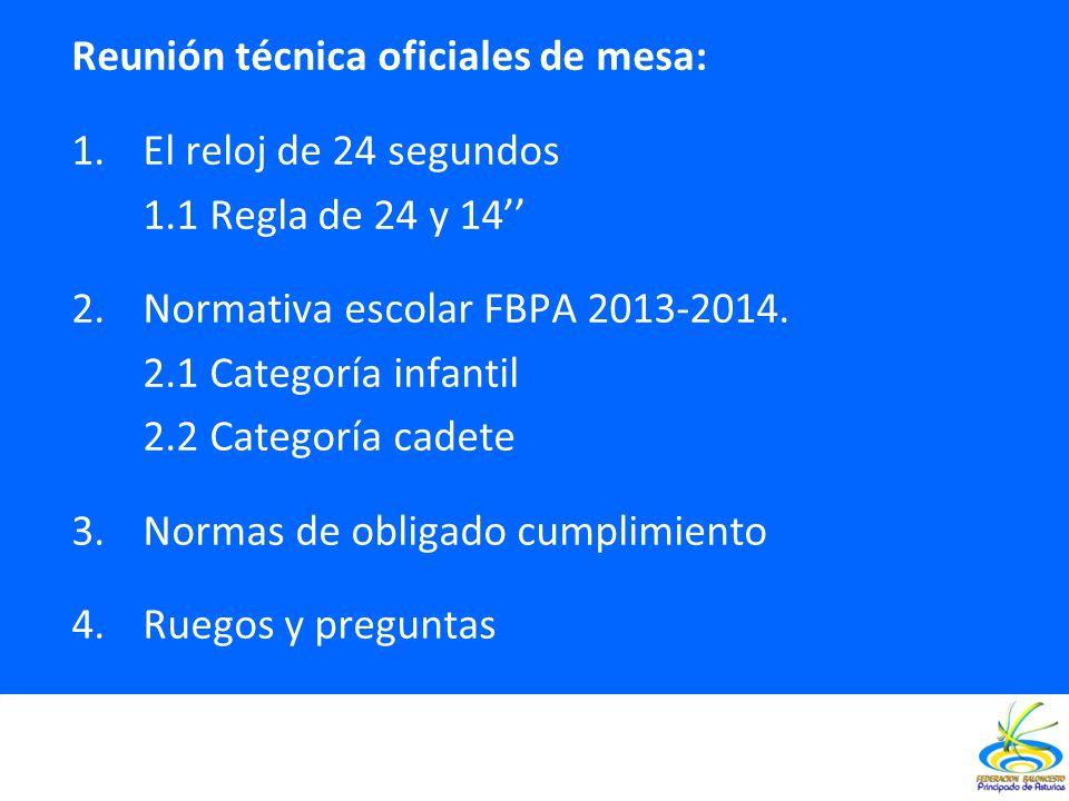 Reunión técnica oficiales de mesa: 1.El reloj de 24 segundos 1.1 Regla de 24 y 14 2.Normativa escolar FBPA 2013-2014. 2.1 Categoría infantil 2.2 Categ