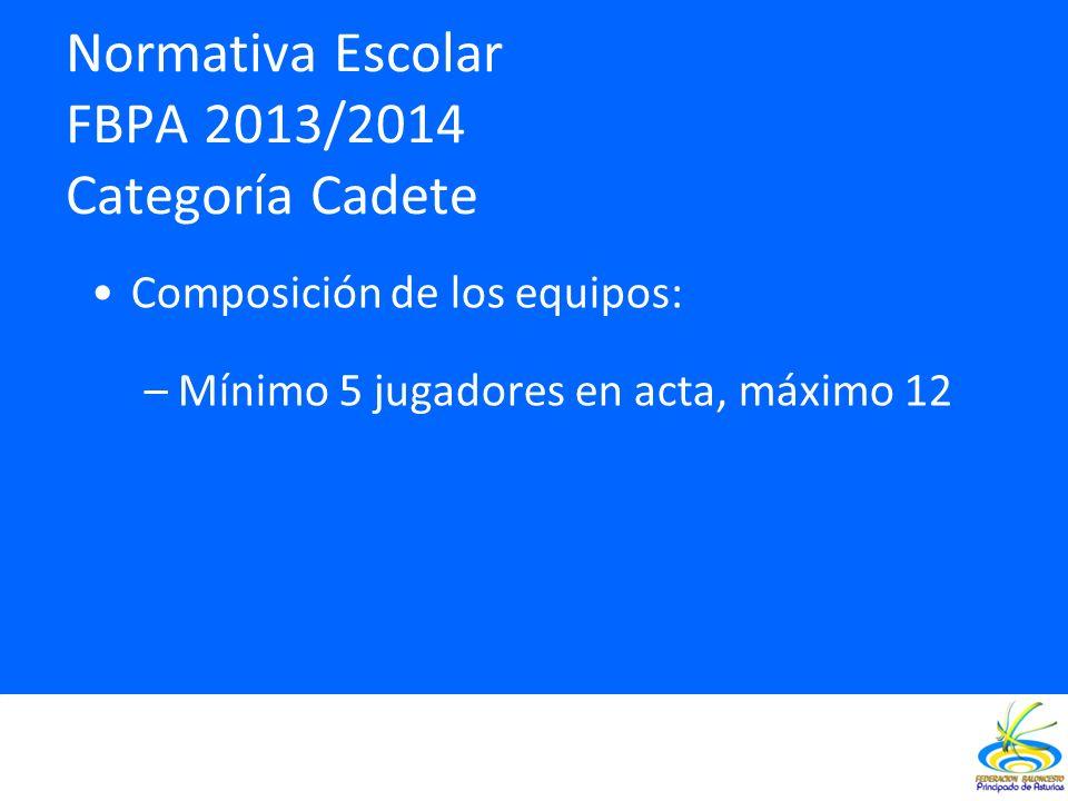 Normativa Escolar FBPA 2013/2014 Categoría Cadete Composición de los equipos: –Mínimo 5 jugadores en acta, máximo 12