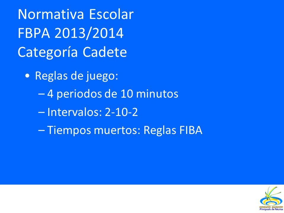 Normativa Escolar FBPA 2013/2014 Categoría Cadete Reglas de juego: –4 periodos de 10 minutos –Intervalos: 2-10-2 –Tiempos muertos: Reglas FIBA