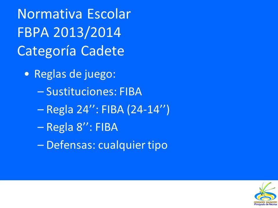 Normativa Escolar FBPA 2013/2014 Categoría Cadete Reglas de juego: –Sustituciones: FIBA –Regla 24: FIBA (24-14) –Regla 8: FIBA –Defensas: cualquier ti