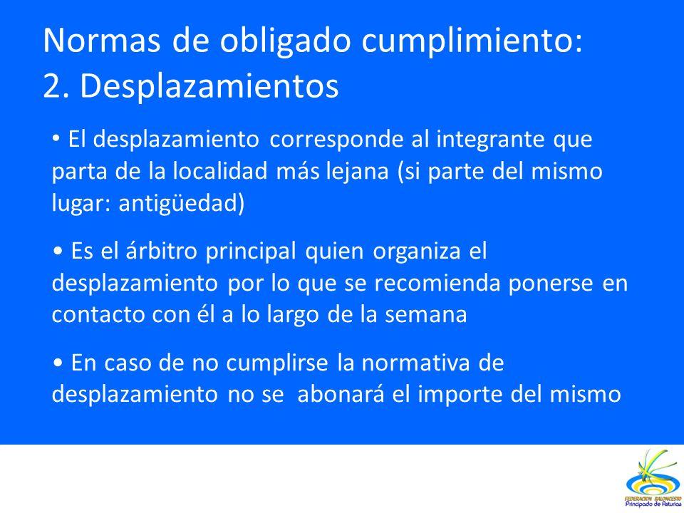Normas de obligado cumplimiento: 2. Desplazamientos El desplazamiento corresponde al integrante que parta de la localidad más lejana (si parte del mis