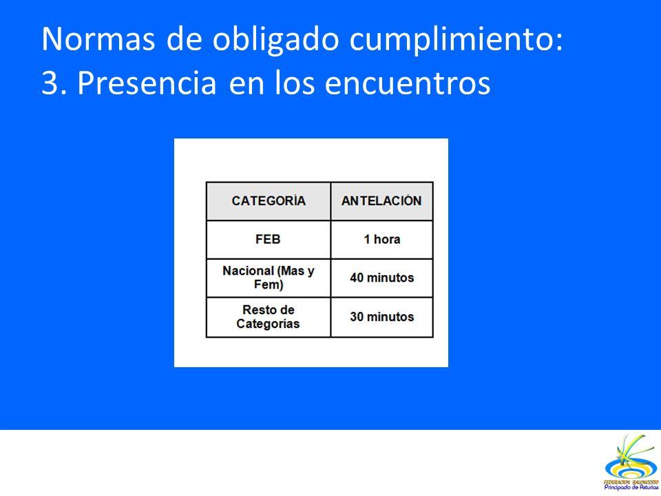 Normas de obligado cumplimiento: 3. Presencia en los encuentros