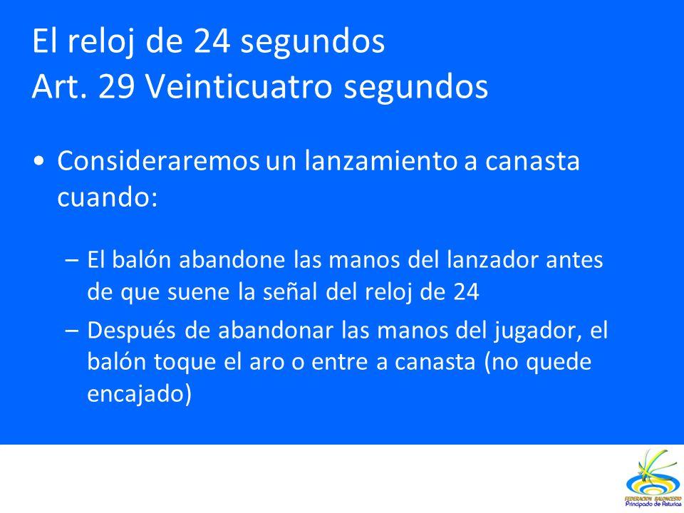 El reloj de 24 segundos Art. 29 Veinticuatro segundos Consideraremos un lanzamiento a canasta cuando: –El balón abandone las manos del lanzador antes
