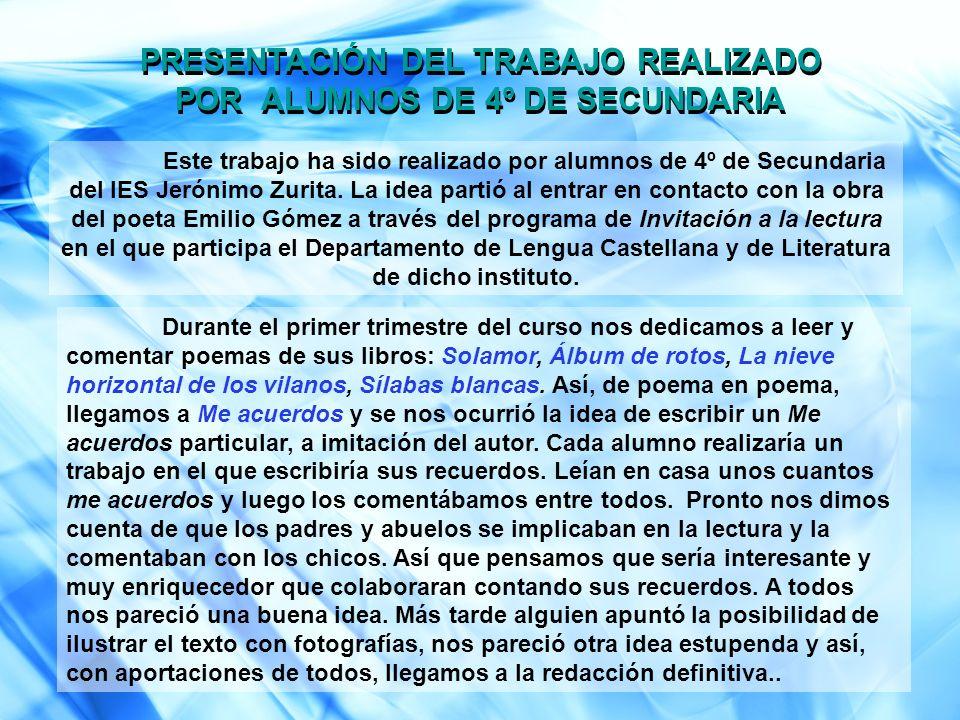 Este trabajo ha sido realizado por alumnos de 4º de Secundaria del IES Jerónimo Zurita. La idea partió al entrar en contacto con la obra del poeta Emi