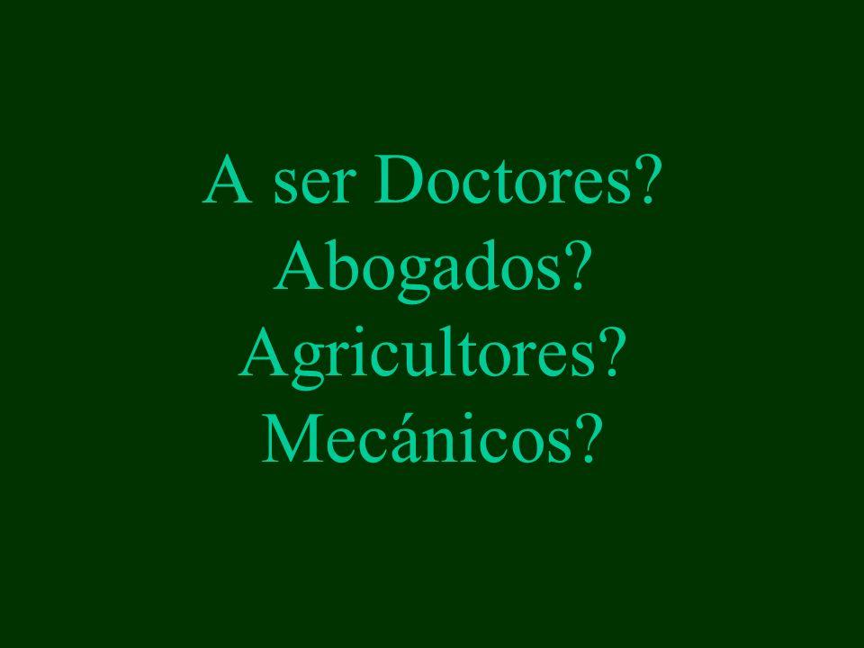 A ser Doctores? Abogados? Agricultores? Mecánicos?