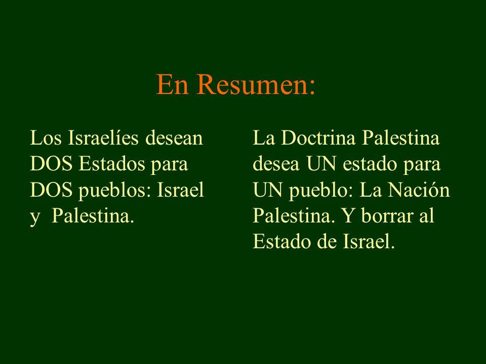En Resumen: Los Israelíes desean DOS Estados para DOS pueblos: Israel y Palestina.