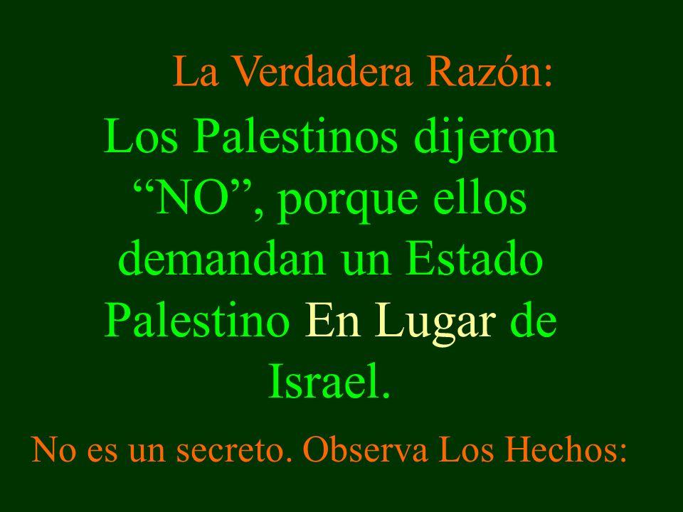 Los Palestinos dijeron NO, porque ellos demandan un Estado Palestino En Lugar de Israel.