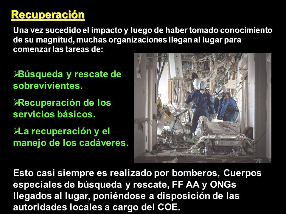 Recuperación Una vez sucedido el impacto y luego de haber tomado conocimiento de su magnitud, muchas organizaciones llegan al lugar para comenzar las tareas de: Búsqueda y rescate de sobrevivientes.