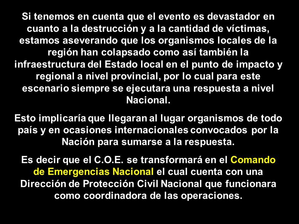 Si tenemos en cuenta que el evento es devastador en cuanto a la destrucción y a la cantidad de víctimas, estamos aseverando que los organismos locales de la región han colapsado como así también la infraestructura del Estado local en el punto de impacto y regional a nivel provincial, por lo cual para este escenario siempre se ejecutara una respuesta a nivel Nacional.
