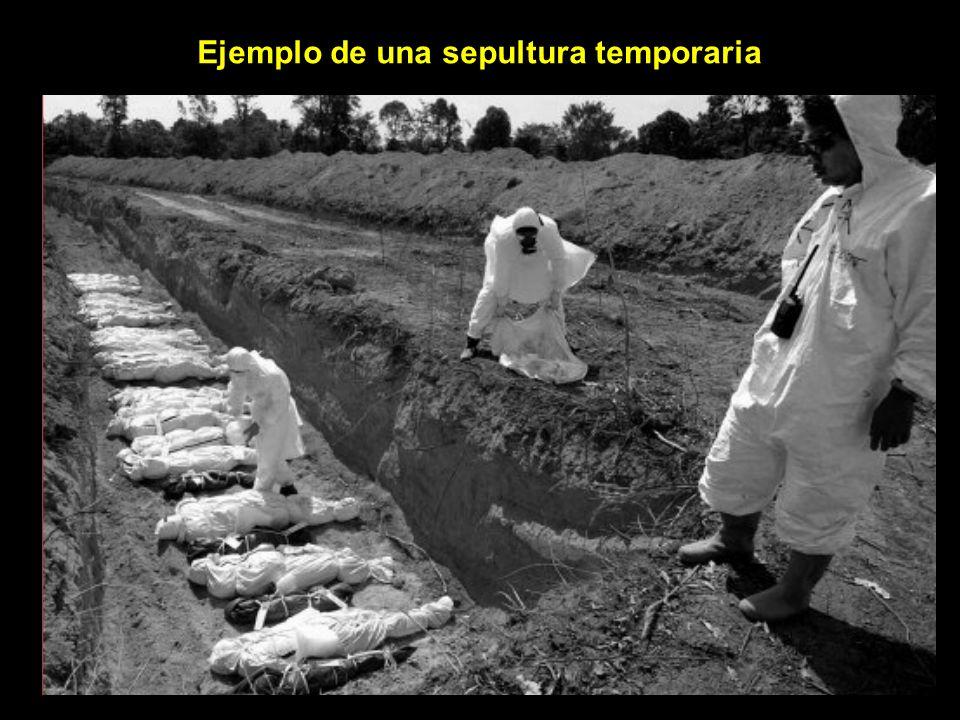 Ejemplo de una sepultura temporaria