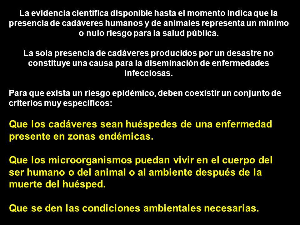La evidencia científica disponible hasta el momento indica que la presencia de cadáveres humanos y de animales representa un mínimo o nulo riesgo para la salud pública.