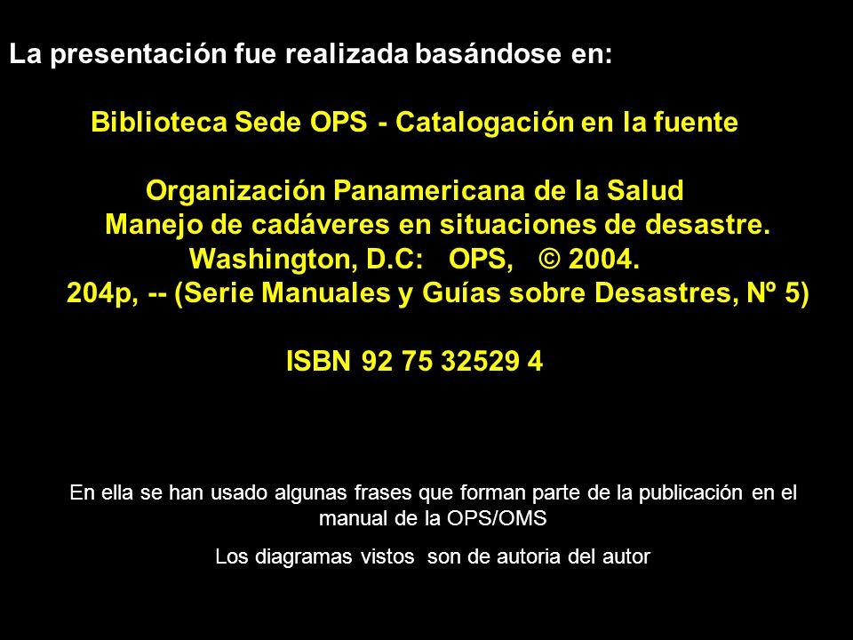 La presentación fue realizada basándose en: Biblioteca Sede OPS - Catalogación en la fuente Organización Panamericana de la Salud Manejo de cadáveres en situaciones de desastre.