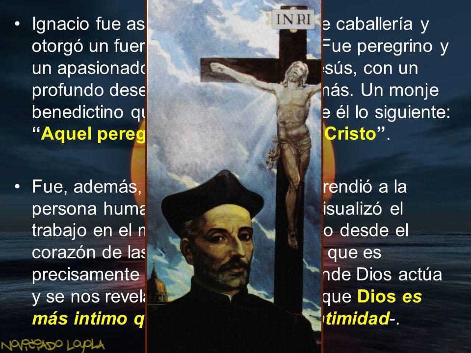 Camino a Manresa se detuvo en Montserrat y ante la imagen de la Virgen se despojó de su cabalgadura, armas y vestiduras.