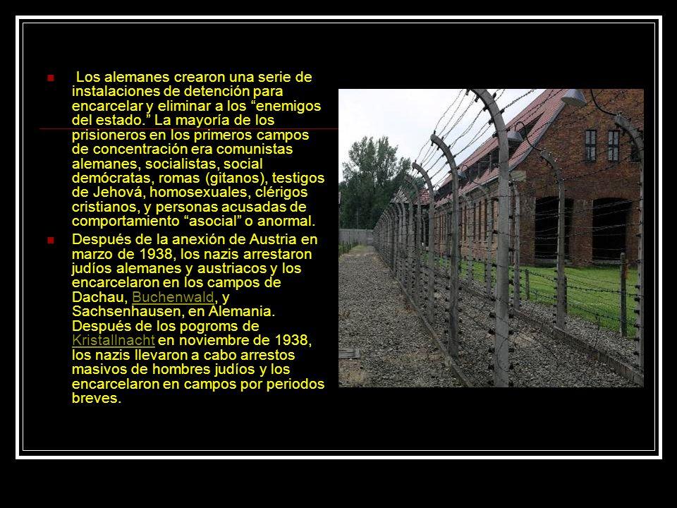 Los alemanes crearon una serie de instalaciones de detención para encarcelar y eliminar a los enemigos del estado. La mayoría de los prisioneros en lo
