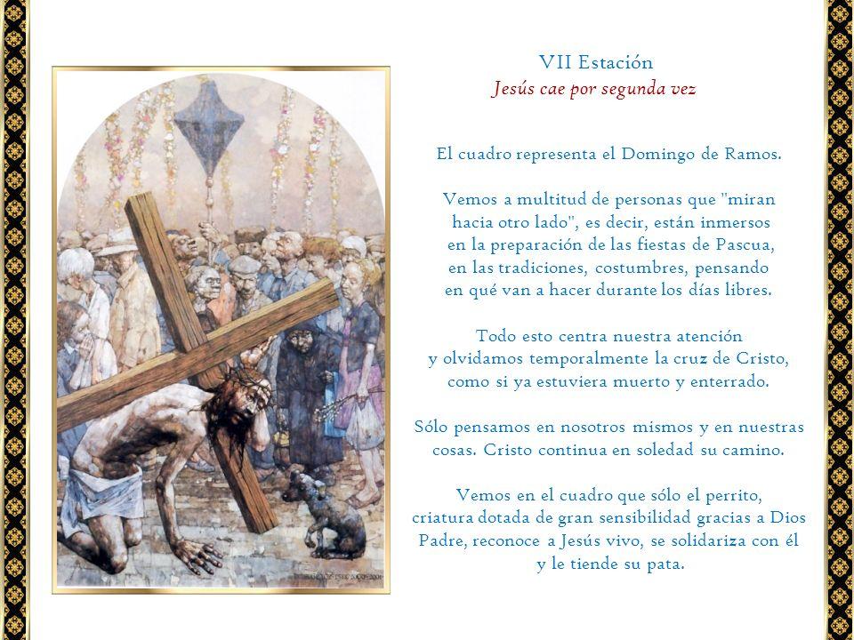 El cuadro representa el Domingo de Ramos. Vemos a multitud de personas que
