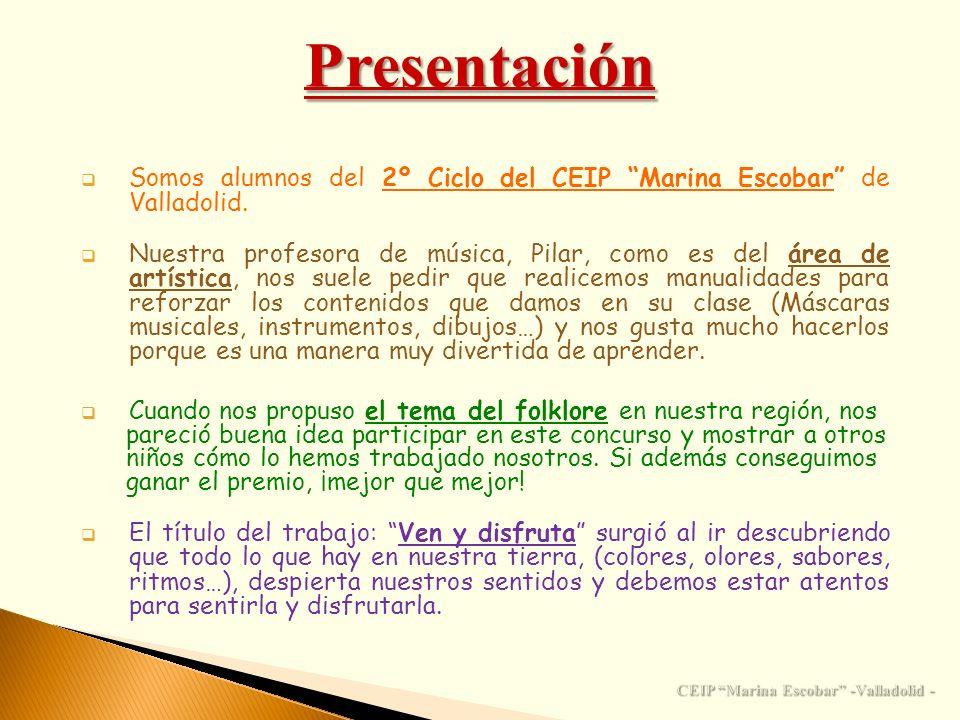 Presentación Cuando nos propuso el tema del folklore en nuestra región, nos pareció buena idea participar en este concurso y mostrar a otros niños cóm