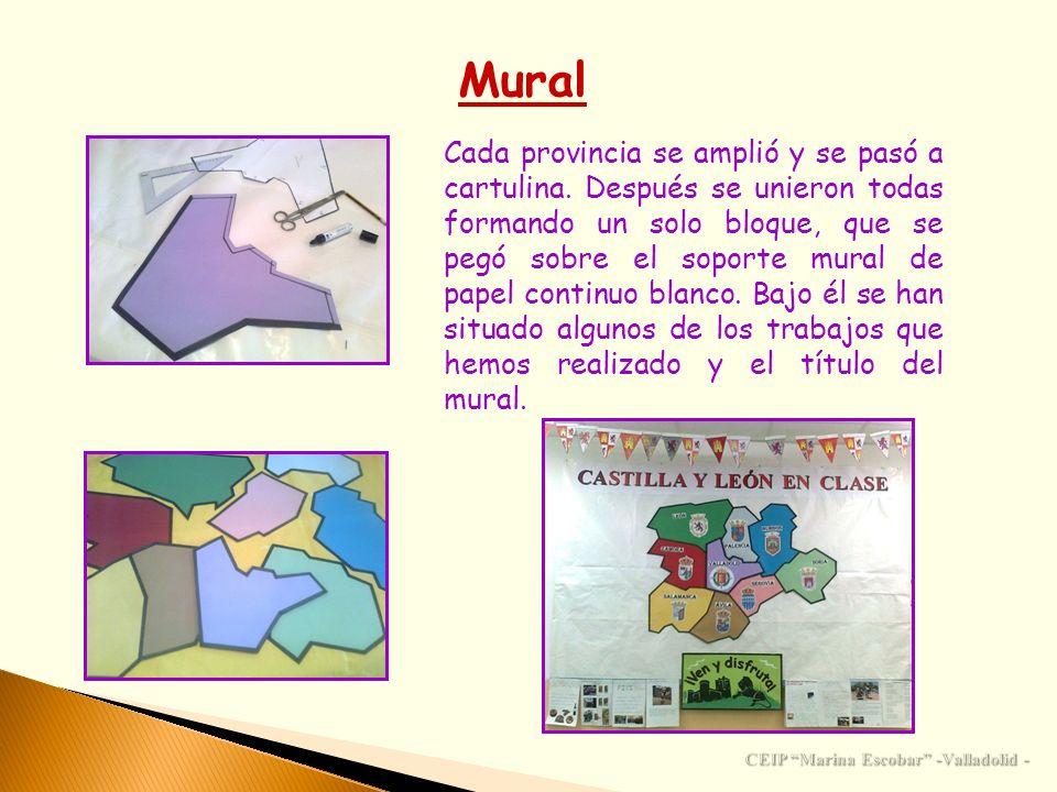 Mural Cada provincia se amplió y se pasó a cartulina. Después se unieron todas formando un solo bloque, que se pegó sobre el soporte mural de papel co