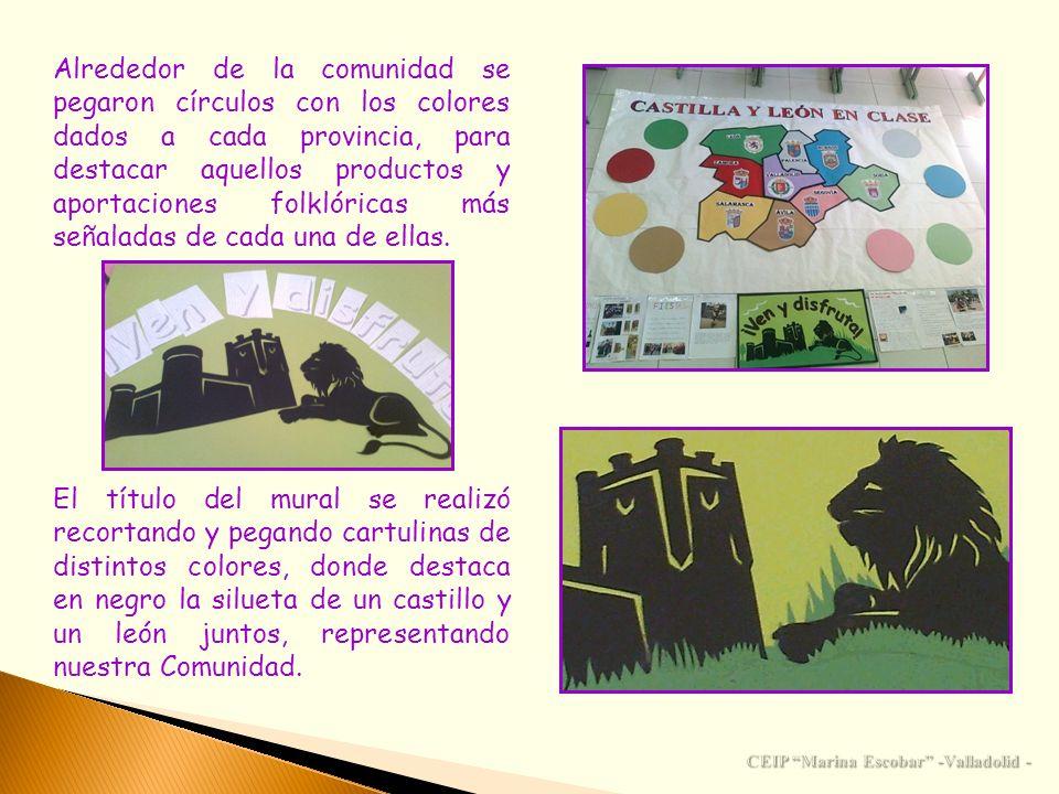 Alrededor de la comunidad se pegaron círculos con los colores dados a cada provincia, para destacar aquellos productos y aportaciones folklóricas más