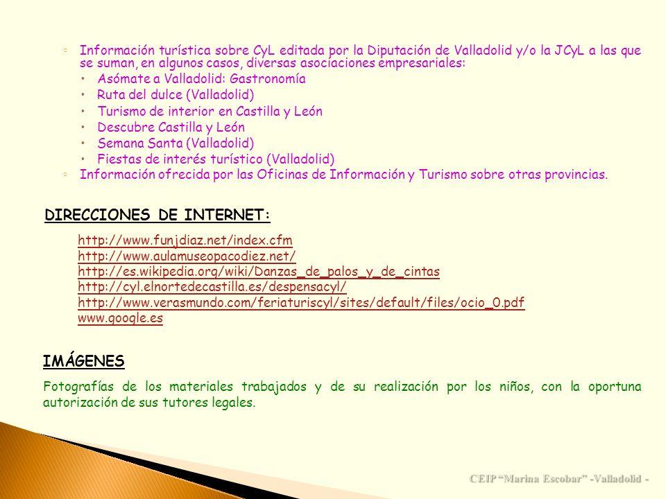Información turística sobre CyL editada por la Diputación de Valladolid y/o la JCyL a las que se suman, en algunos casos, diversas asociaciones empres