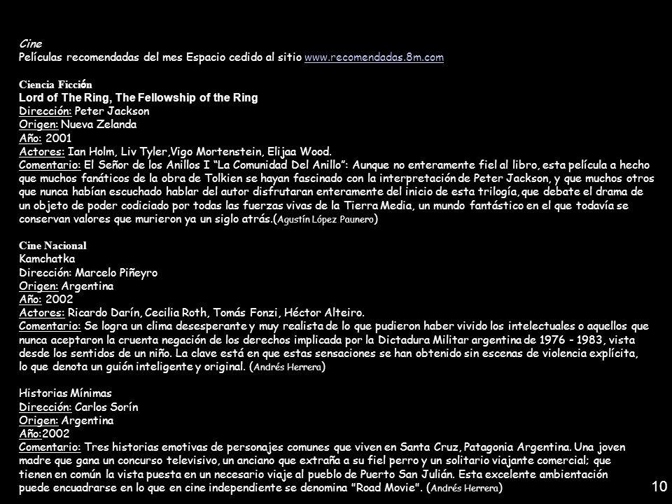 Cine Películas recomendadas del mes Espacio cedido al sitio www.recomendadas.8m.comwww.recomendadas.8m.com Ciencia Ficci ó n Lord of The Ring, The Fel