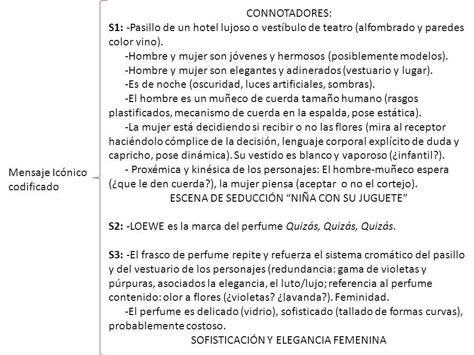Mensaje Icónico codificado CONNOTADORES: S1: -Pasillo de un hotel lujoso o vestíbulo de teatro (alfombrado y paredes color vino).