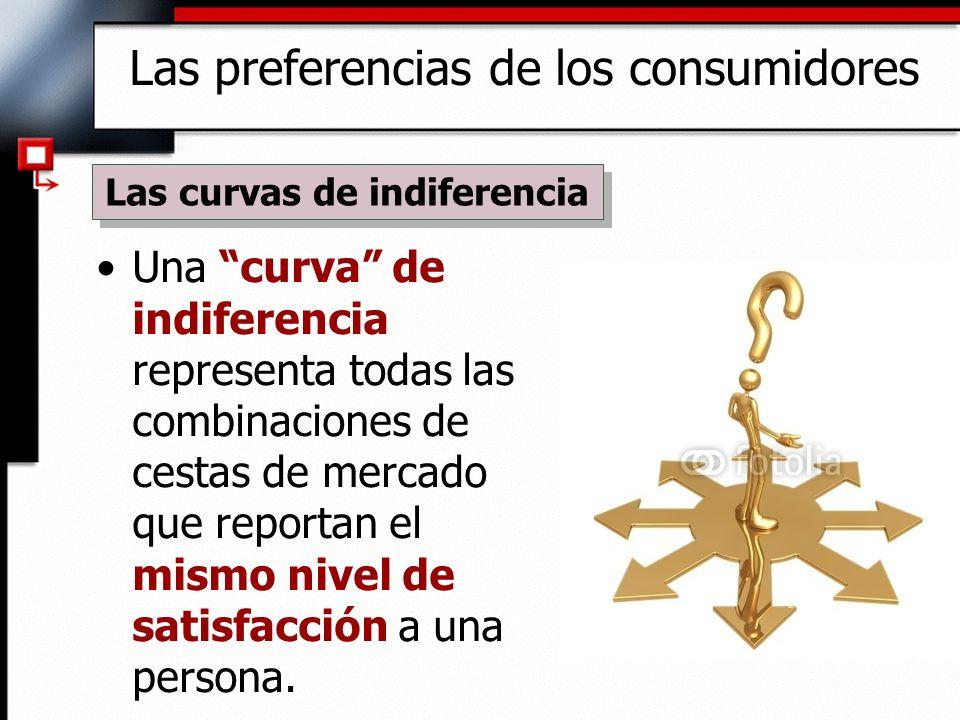 Una curva de indiferencia representa todas las combinaciones de cestas de mercado que reportan el mismo nivel de satisfacción a una persona. Las curva