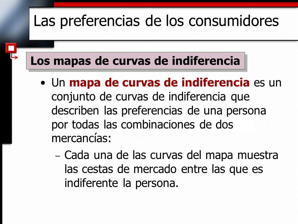Un mapa de curvas de indiferencia es un conjunto de curvas de indiferencia que describen las preferencias de una persona por todas las combinaciones d