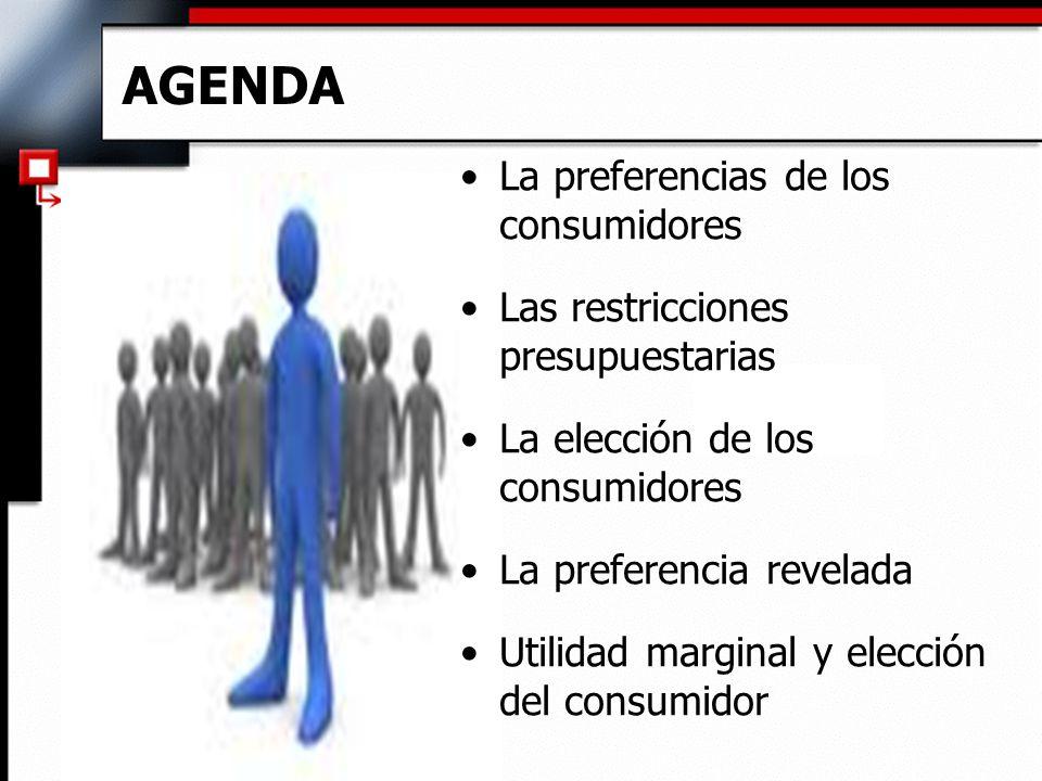 AGENDA La preferencias de los consumidores Las restricciones presupuestarias La elección de los consumidores La preferencia revelada Utilidad marginal